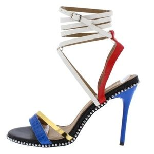 Red Multi Color Open Toe Strappy Stiletto Heels
